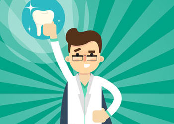 a cartoon image of a dentist holding up a model of a tooth.